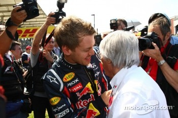 Sebastian Vettel, Red Bull Racing with Bernie Ecclestone