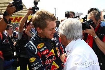 Sebastian Vettel, Red Bull Racing with Bernie Ecclestone