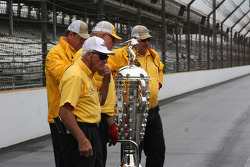 The Borg Warner Trophy is well guarded
