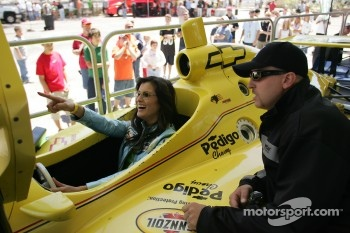 Actress Kelly Hu tries IRL racing sim