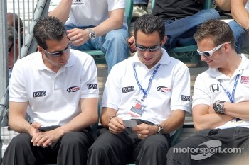 Sam Hornish Jr., Helio Castroneves and Dan Wheldon