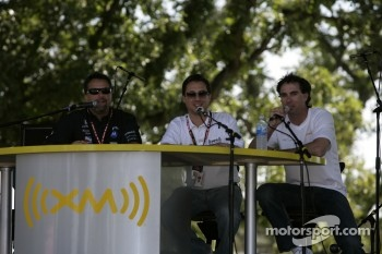 Michael Andretti and Bryan Herta at the XM Satellite Radio stage
