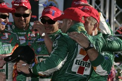 Victory lane: race winner Tony Kanaan celebrates with this team