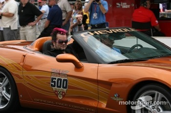 Lead singer of band SALIVA, Josey Scott takes a ride in the Corvette Pace Car with Johnny Rutherford