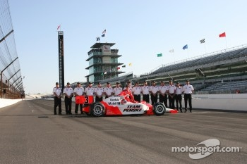 Pole winner Helio Castroneves with this team
