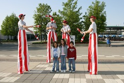 Jugglers entertain the fans