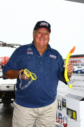 A.J. Foyt jokes with scuba gear