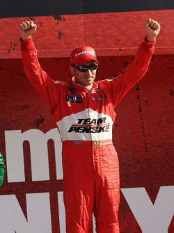 Podium: race winner Helio Castroneves