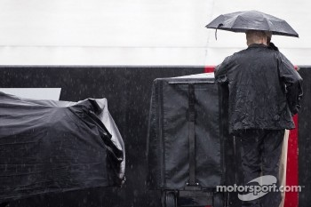 The NASCAR Sprint Cup Series teams experience a delay due to rain before qualifying