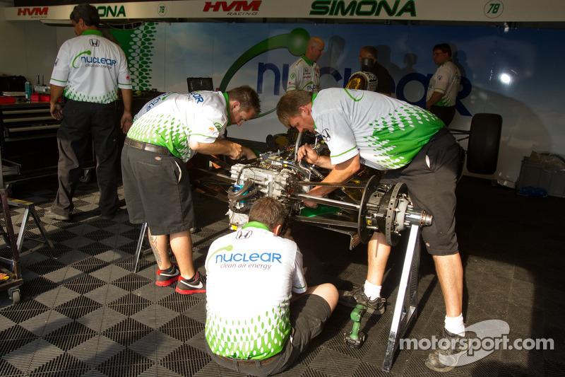 Nuclear Clean Air Energy HVM Racing crew members prepare the backup car of Simona de Silvestro