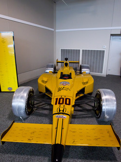 The Centennial car with the signatures of the living drivers who have raced in the Indy 500