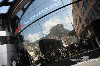 Photographers waiting in front of the McLaren Mercedes Hospitality