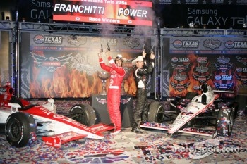 Dario Franchitti, Target Chip Ganassi Racing and Will Power, Team Penske celebrate