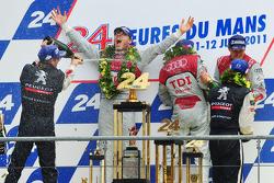 LMP1 podium: Marcel Fässler gets champagne