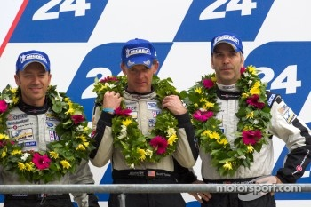 LM P2 podium: third place Scott Tucker, Christophe Bouchut, Joao Barbosa