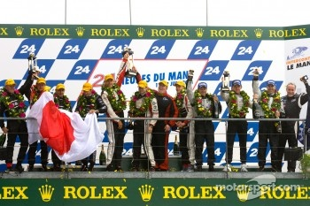 LM P2 podium: class winners Karim Ojjeh, Tom Kimber-Smith, Olivier Lombard, second place Franck Mailleux, Lucas Ordonez, Soheil Ayari, third place Scott Tucker, Christophe Bouchut, Joao Barbosa