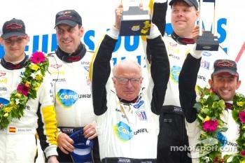 LM GTE Pro podium: class winners Olivier Beretta, Tom Milner, Antonio Garcia with Doug Fehan
