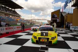 Race winner Martin Tomczyk, Audi Sport Team Phoenix Audi A4 DTM enters parc ferme