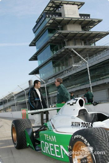 Dario Franchitti getting ready to head out on the track