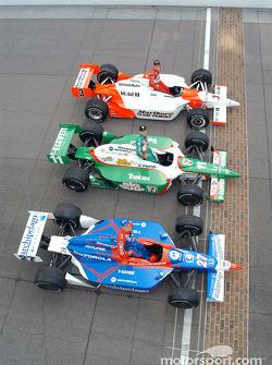The front row: pole winner Helio Castroneves with Tony Kanaan and Robby Gordon