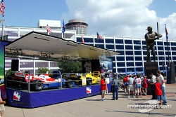 IndyCars on display in front of Busch Stadium in St. Louis