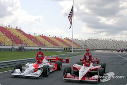 Front row: Scott Dixon and Helio Castroneves