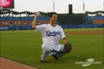 Baseball game at Dodgers Stadium: Helio Castroneves