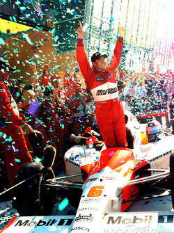 Race winner Sam Hornish Jr. celebrates