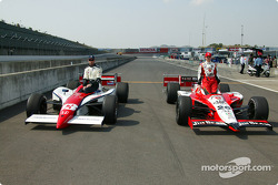 Front row for the Indy Japan 300: pole winner Dan Wheldon with Greg Ray