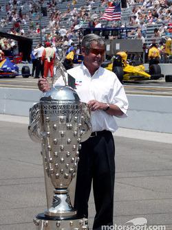 Four-time Indy 500 winner Al Unser Sr. with the Borg-Warner Trophy