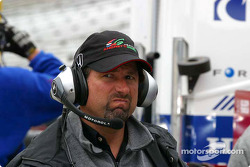 Michael Andretti reacts to lap times by his team