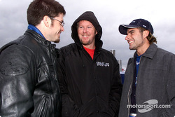 Patrick Carpentier, Paul Tracy and Alex Tagliani discussing during a rain delay