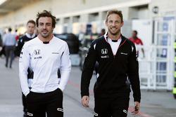 (L to R): Fernando Alonso, McLaren with team mate Jenson Button, McLaren
