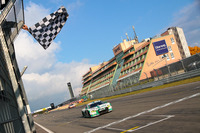 VLN Photos - Checkered flag for Connor de Phillippi, Christopher Mies, Land Motorsport, Audi R8 LMS