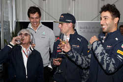 F1 supremo Bernie Ecclestone at his birthday celebrations with Max Verstappen, Red Bull Racing, Daniel Ricciardo, Red Bull Racing and Toto Wolff, Mercedes GP Executive Director