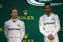 2nd place Nico Rosberg, Mercedes AMG Petronas F1 W07 with 1st place Lewis Hamilton, Mercedes AMG F1 W07
