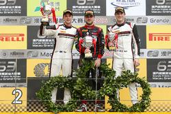 Podium: Race winner Laurens Vanthoor, Audi Sport Team WRT Audi R8 LMS; second place Earl Bamber, Manthey Racing Porsche 911 GT3-R; third place Kévin Estre, Manthey Racing Porsche 911 GT3-R