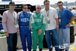 New York Yankees teammates Robin Ventura, Jason Giambi and Ron Coomer with Dario Franchitti and Paul Tracy