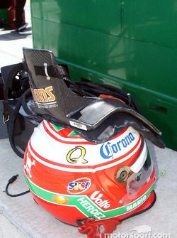 Adrian Fernandez's helmet and HANS device