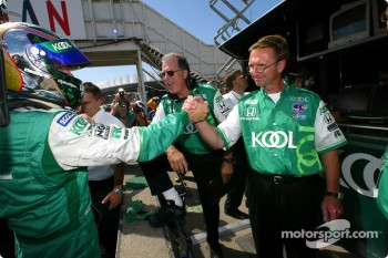 Paul Tracy being congratulated by chief engineer Steve Challis
