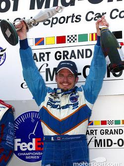 The podium: race winner Patrick Carpentier
