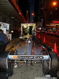 Crew prepare the two-seater Champ Car