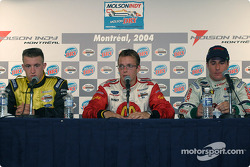Press conference: pole winner Sébastien Bourdais with A.J. Allmendinger and Mario Dominguez