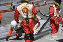 Newman/Hass Racing crew member with a front wing