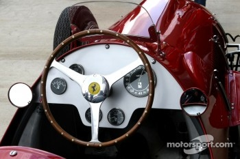 The cockpit of the 1951 Silverstone winning Ferrari 375