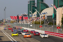 Start: #77 Ferrari of Silicon Valley Ferrari 458 Challenge: Harry Cheung and #20 Ferrari of Houston Ferrari 458 Challenge: Cooper MacNeil lead the field