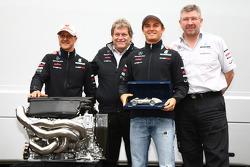 Nico Rosberg, Mercedes GP F1 Team celebrates his 100th race with Michael Schumacher, Mercedes GP F1 Team, Ross Brawn Team Principal, Mercedes GP and Norbert Haug, Mercedes, Motorsport chief