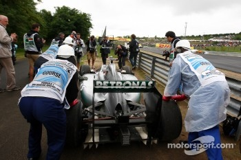 Michael Schumacher, Mercedes GP F1 Team, stops on track