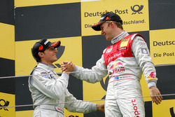 Podium: race winner Mattias Ekström, Audi Sport Team Abt, second place Bruno Spengler, Team HWA AMG Mercedes