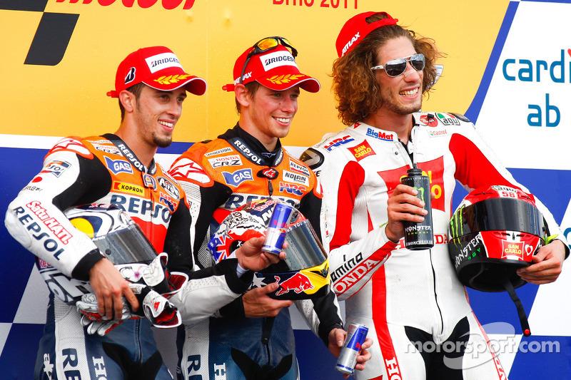 Podium: 1. Casey Stoner, Repsol Honda Team; 2. Andrea Dovizioso, Repsol Honda Team; 3. Marco Simoncelli, San Carlo Honda Gresini